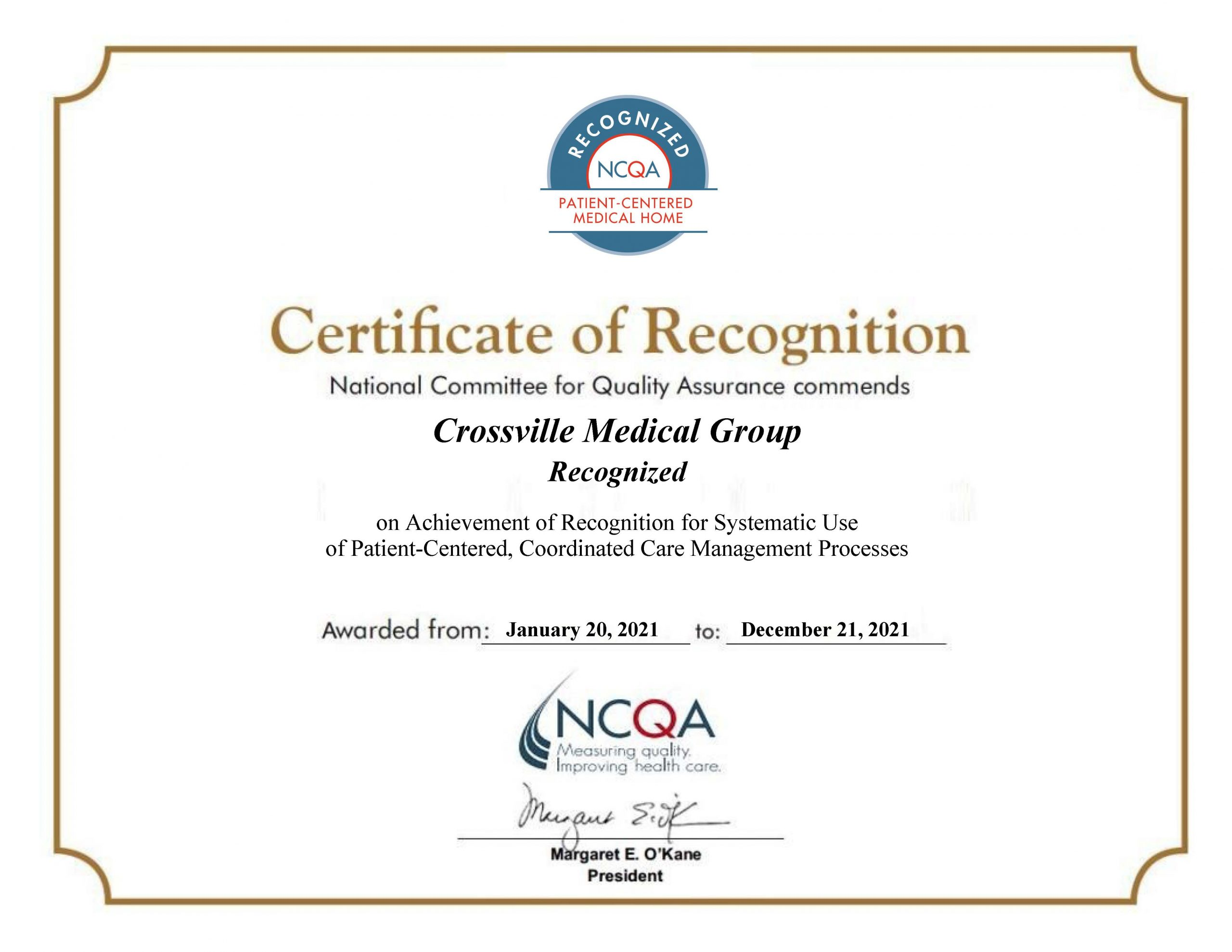 Crossville Medical Group Recognized as a PCMH